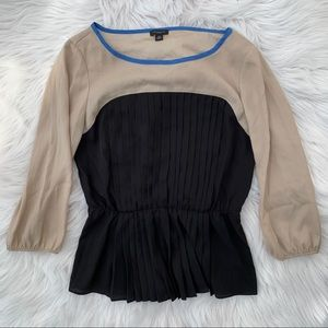 Ann Taylor Tan and Black Blouse with Ruffles